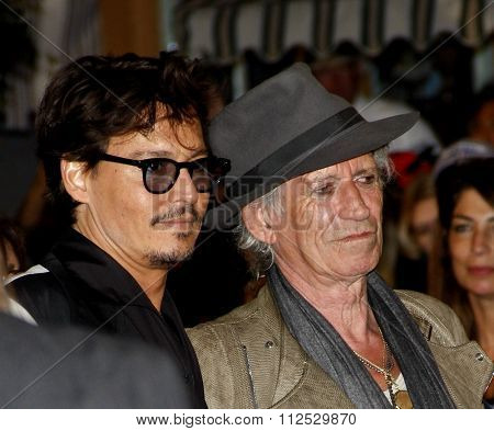DISNEYLAND, CALIFORNIA - May 7, 2011. Johnny Depp and Keith Richards at the World premiere of
