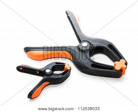 Plastic clamps used for clamping items isolated on white background