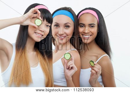 Attractive young women are using vegetable for treatment