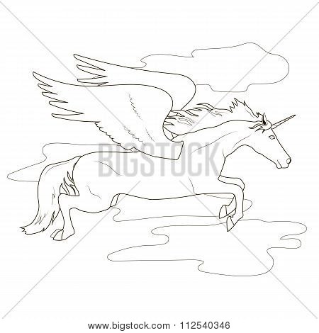 Coloring Flying Pegasus Unicorn