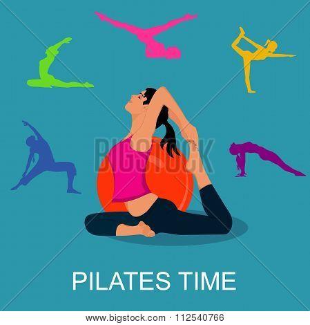 Pilates woman stability ball gym fitness yoga exercises girl, vector illustration