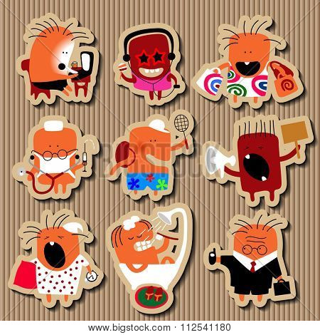 Paper icon set of doodle flat personages in the form of comic human characters in various life occupations and emotions on cardboard corrugated background. Vector illustration poster