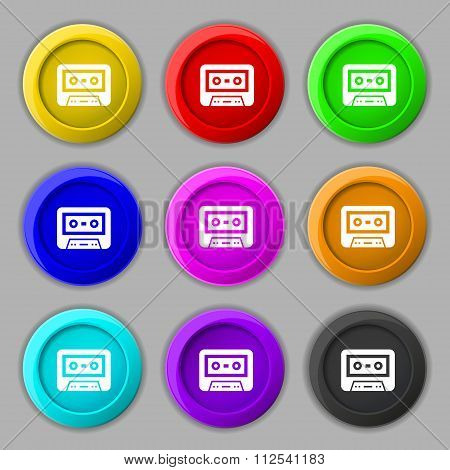 Audiocassette Icon Sign. Symbol On Nine Round Colourful Buttons.