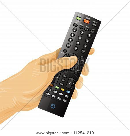 TV remote control in hand isolated on white background