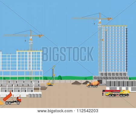 Heavy machinery at a construction site building high-rise building. Industrial cranes. Vector illust