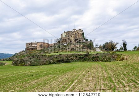 Ceuro castle XI-XII century Romanesque in Castellar de la Ribera Solsones. Catalonia Spain. poster