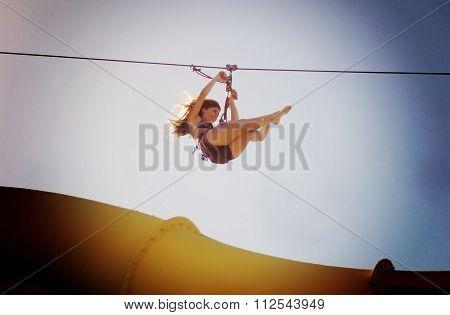 Zipline in a waterpark