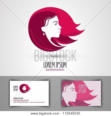 barbershop vector logo design template. beauty salon, beauty shop or beautiful girl icon