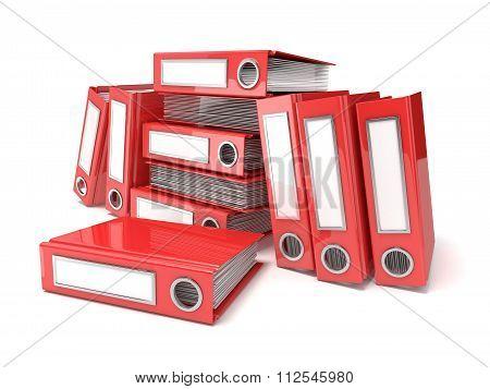 Batch of binders red office folders. 3D