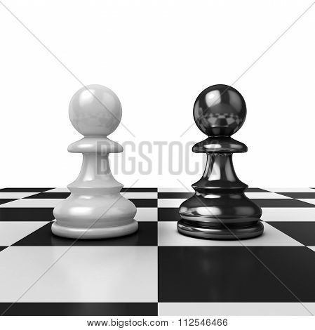 Two chess pawns black and white figures