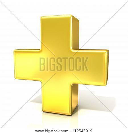 Plus sign 3D golden sign