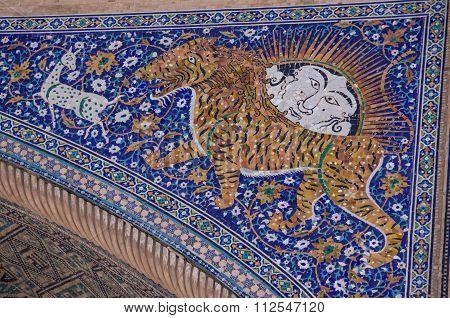 Made Mosaics Tiger Figure  On The Facade Of Madrasas In Samarkand