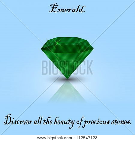 Realistic emerald on a light background with a specular reflection. poster