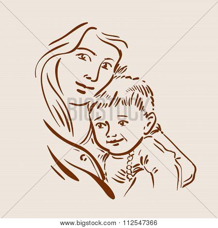 Hand drawn sketch young mother and child. Vector illustration