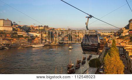 PORTO, PORTUGAL - CIRCA JUN, 2015: View of Douro river and Ribeira in historic center of Porto. UNESCO recognised Old Town of Porto as a World Heritage Site in 1996.