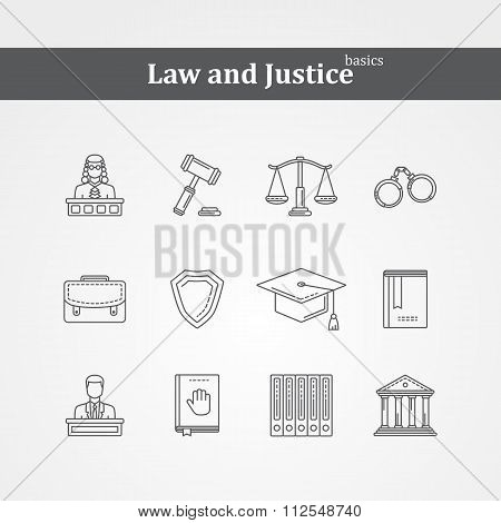 Vector  black Law and justice icons