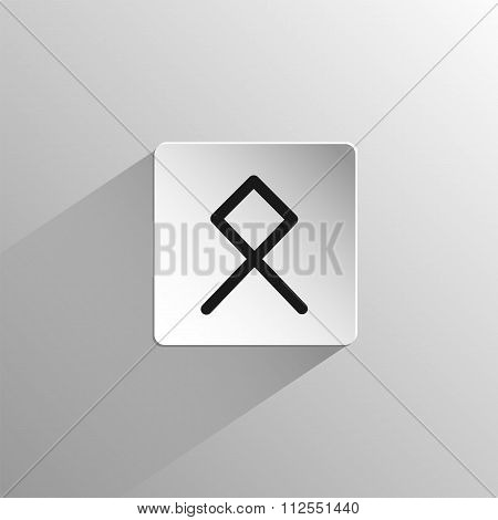 magic, black icon rune Othila on a light background with long shadow poster