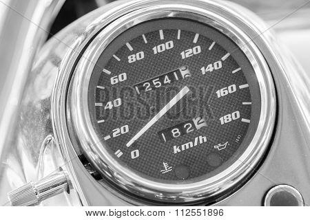 Close up Big motorcycle speed meter