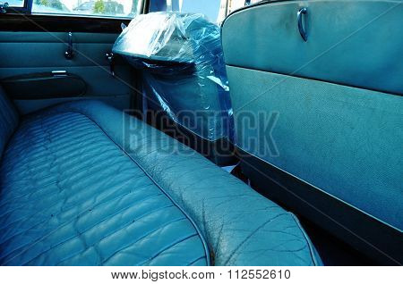 blue leather car interior vintage auto