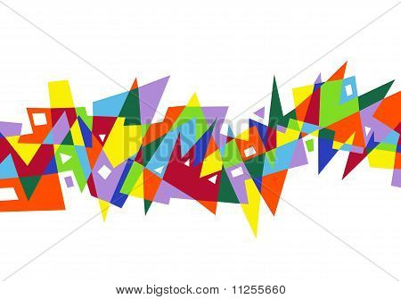 abstract colorful geometric pattern on white background poster