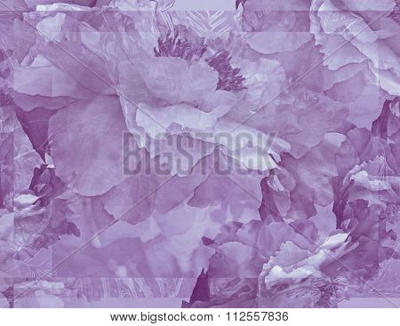 Floral Potpourri with Peonies in Pale Violet