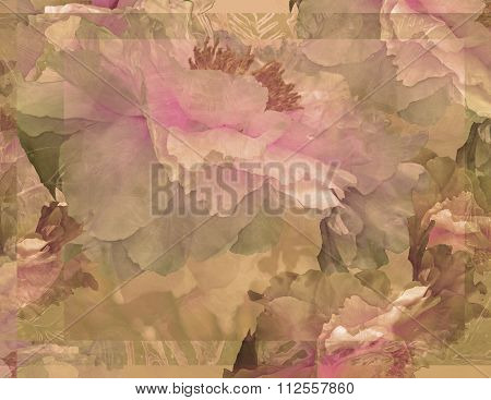 Floral Potpourri with Peonies in Beige Green and Pink