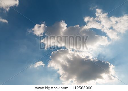 Closeup Of The Blue Sky With Sun Behind The Clouds 2