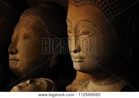 Neglected Ancient Sandstone Buddha Head