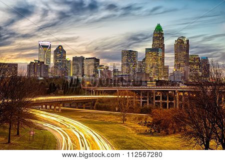Charlotte North Carolinacity  Skyline At Sunset
