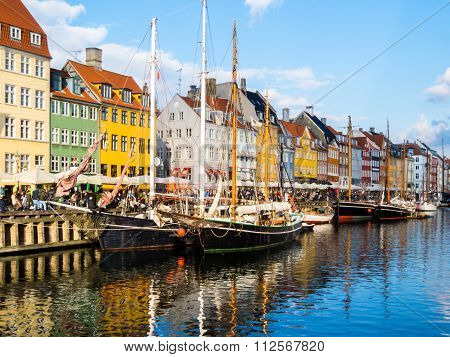 View of Nyhavn harbour by summer, Copenhagen, Denmark poster