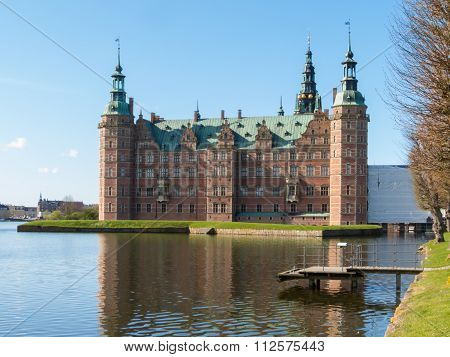 Lake and Palace Frederiksborg Slot - palace in Hillerod, Denmark poster