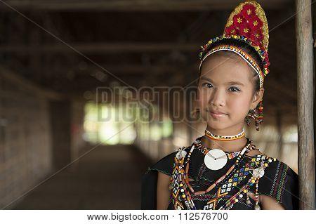 Rungus Ethnic Wearing Traditional Costume.
