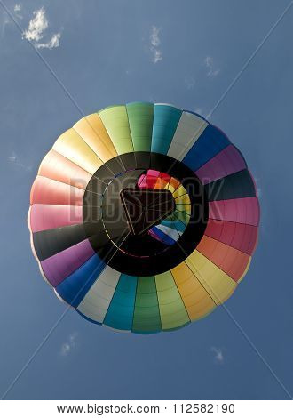 Hot Air Balloon Floating Directly Overhead