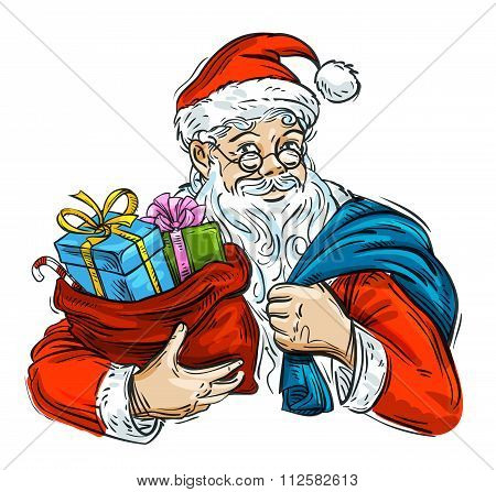Christmas. Cheerful Santa Claus and bag with gifts isolated on white background
