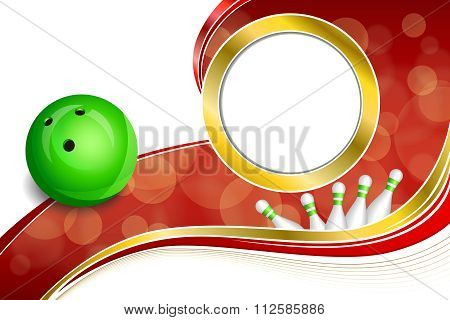 Background abstract red bowling green ball gold frame illustration vector