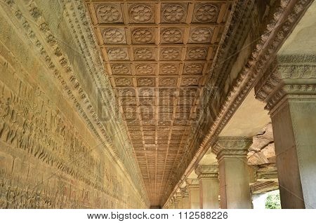 Siem Reap, Cambodia - December 2, 2015: Ceiling Detail Of Angkor Wat
