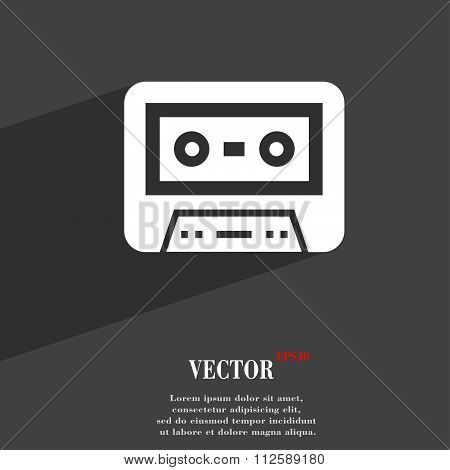 Audiocassette Symbol Flat Modern Web Design With Long Shadow And Space For Your Text.