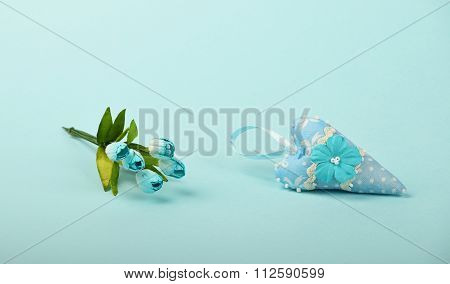One Textile Heart With Flowers On Blue Background