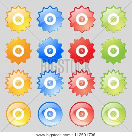 Eightball, Billiards  Icon Sign. Big Set Of 16 Colorful Modern Buttons For Your Design.