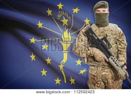 Soldier Holding Machine Gun With Usa State Flag On Background Series - Indiana