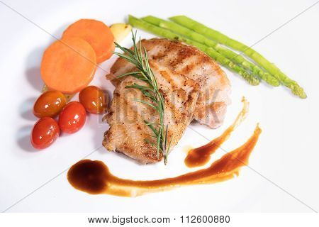 Fried Meat Stake With Vegetables