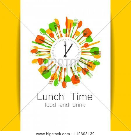 Lunch Time logo. Restaurant, coffee shop, fast food, food delivery. Template design for corporate identity.