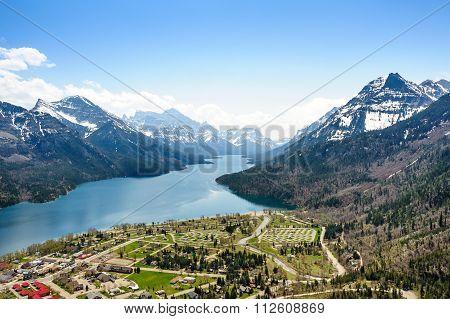 Camping Ground Aerial View At Waterton Lake