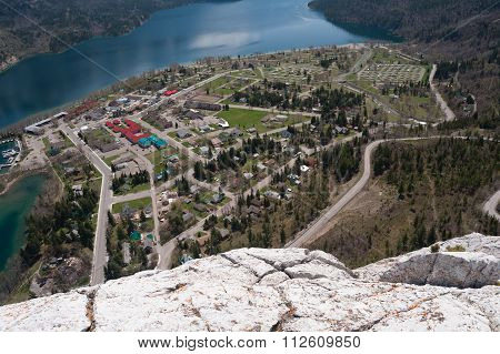 Waterton Lake And Townsite Aerial View