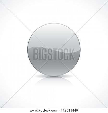 Shiny round silver button template on reflection plate