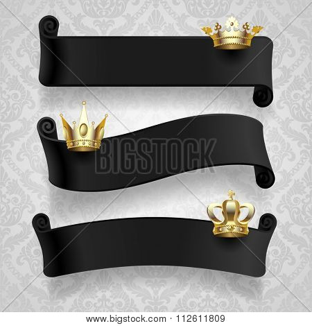 Black curled ribbons with gold crowns on classic light decorative background. Contain the Clipping Path