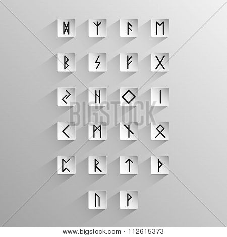 Alphabet with ancient Old Norse rune on a light background with long shadow poster