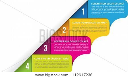 Abstract vector background with four colored labels steps and with numbers