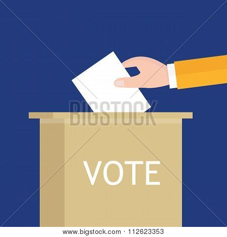 election hand holding ballot paper into box presidential parliament senator vector illustration
