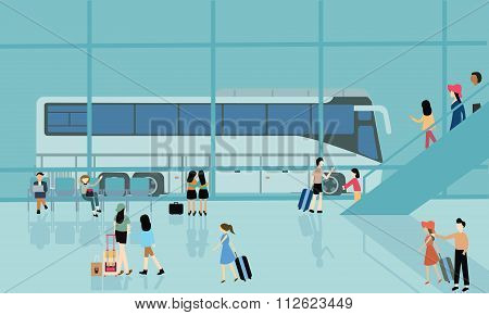 bus terminal station bussy activities people arrive departure go for travel